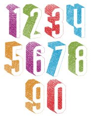 Retro style 3d geometric numbers set with drawn lines