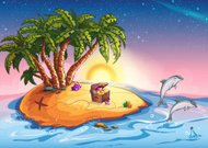 Illustration Treasure Island at sunset and cheerful dolphins