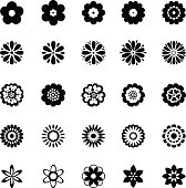 Abstract flower icons set