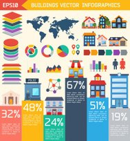 Modern flat city background infographics with text fields.
