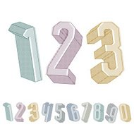 3d geometric numbers set with lines textures.