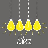 Hanging yellow light bulbs. Idea concept. Grey background. Flat design.