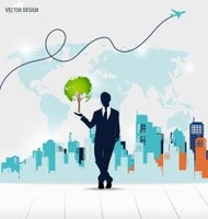 Businessman showing Tree shaped world map with building backgrou
