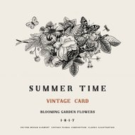 Summer vector vintage card with black and white floral bouquet
