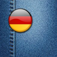 Germany Bright Colorful Badge on Denim Fabric Texture Vector