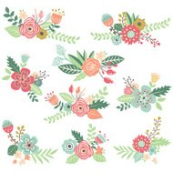 Vintage Hand Drawn Floral Set - Illustration