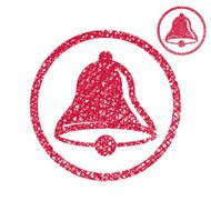 Hand drawn bell vector icon isolated on white background
