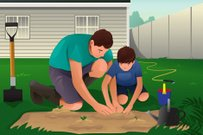 Father and son working on a flower garden