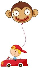 Red car with a boy and a monkey balloon