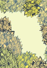 Spring background with doodle leaves