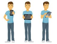 Happy Casual cartoon Man with technology, phone and tablets