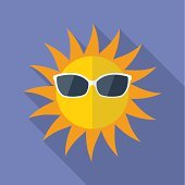 Sun with glasses icon. Modern Flat style