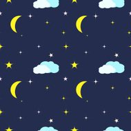 Seamless Pattern with night sky, moon and stars