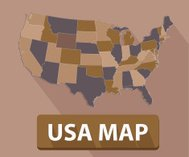 USA map on brown background,clean vector