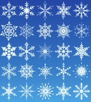 Set of 25 different snowflake designs