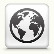 Square Button with Globe royalty free vector art