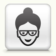 Square Button with Teacher royalty free vector art