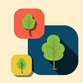 Vector beautiful icon flat blossoming tree eps