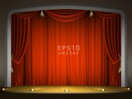 Empty stage with red curtain in expectation of performance EPS10