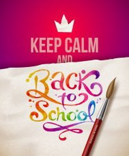 Back to school - illustration with watercolor lettering