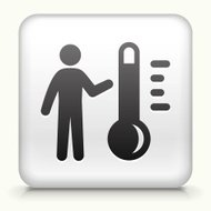 Square Button with Thermometer and Stickfigure royalty free vect