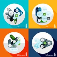 Geometric infographic set in trendy flat style