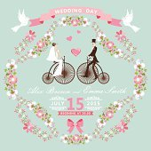 Vintage wedding invitation.Floral frame, Bride, groom,retro bike