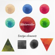 Watercolor figure isolated vector design elements.