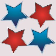 red and blue star on gray background