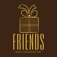 Happy Friendship Day concept with golden gift box.