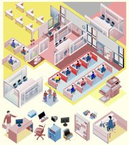 set of office isometric vector. workstation, people, manager, sa