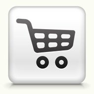 Square Button with Shopping Cart royalty free vector art