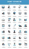 SEO - Internet marketing icon set blue icone, vettoriale