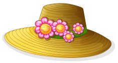 Hat with smiling flowers