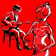 Gypsy guitar jazz player and woman dancing