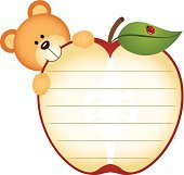 Label with Teddy Bear Eating Apple