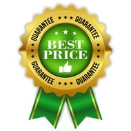 Green best price badge with gold border and ribbon