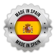 Round made in spain badge with chrome border