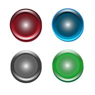 set of icon in flat style, circle button illustration