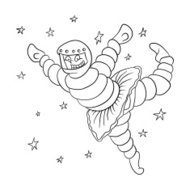 dancing astronaut in outer space, vector