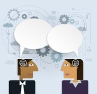 Vector illustration business people with speech bubble.social ne
