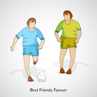 Friendship Day celebrations concept with young men playing footb