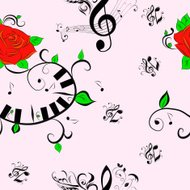 Seamless Pattern of Music Notes and Rose