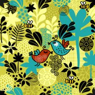 Seamless pattern with sweet couple of birds.