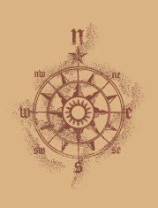 grunge medieval compass rose