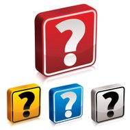 Question mark 3d icon set, vector.
