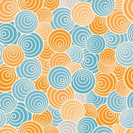 Funky style seamless pattern, orange and blue vector background.