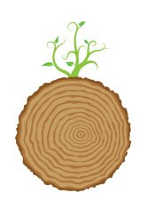 Tree stump and green plant shoot, vector