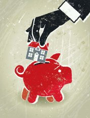 Home Finance, Businessman's Hand, House and Piggy Bank