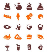 color block icon set - food 1